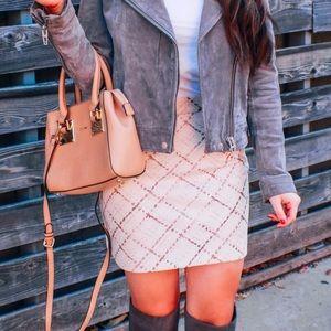 Grid Pattern Faux Suede Skirt